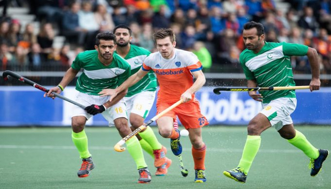 Former world Hockey champions but currently world number 17 Pakistan displayed best of their Hockey skills on Saturday to hold World number 3 Netherlands for a four-all draw in first of two-match Olympic Hockey Qualifiers. Pakistan got the opportunity to take the early lead when they were awarded a penalty corner on the 5th minute of the first quarter of the match in Amstelveen. And, the Green Shirts got the lead as a fizzing low penalty corner effort from Mubashar Ali rattles the Dutch back-board, giving the visitors the early advantage. Immediately after Pakistan's lead, the Dutch made counter-attack but Pakistan showed strong defensive discipline to fail the initial efforts by the hosts to score an equalizer, including to penalty corner efforts to keep the lead intact at the end of the first quarter. Pakistan kept the ball possession in the first five minutes of the second quarter but a penalty stroke from Mink van der Weerden leveled the game for the Netherlands in the 20th minute as his smashed towards the right post after Pakistan goalkeeper Ali Amjad fouled Terrance Pieters. With little over a minute to the equalizer, the Netherlands took the lead thru a stunning field goal by Bjorn Kellerman. Kellerman powered into the circle from the left smash the stunning backhand effort across the face of goal to sensational finish. However, the lead couldn't last long for the hosts as Pakistan got successive penalty corners in the 25th minute with Ghazanfar Ali converting it into the goal for Green Shirts to make it 2-2 ahead of the half-time whistle. Pakistan once again got the lead in 38th minute when they were awarded a penalty corner and the green-shirts didn't let the opportunity go in vain. The low drag-flick from the top of the circle is touched home brilliantly at the left post by captain Rizwan senior. The visitors entered the field for the last quarter with 3-2 lead and kept it till 52nd minute when Robbert Kempermen scored the equalizer for the Netherlands, m