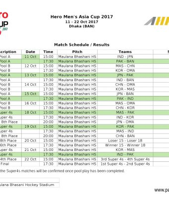 Schedule Asia cup 2017 Hockey