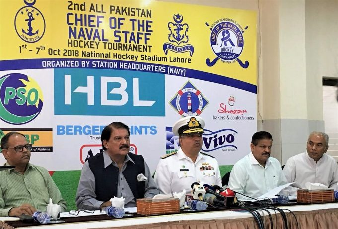 2nd CNS Cup Hockey- Commodore Naimatullah (centre) addressing Press Conference