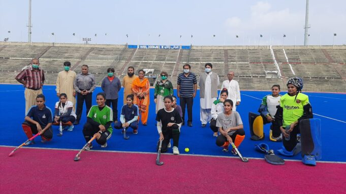 women wing organized two exhibition hockey matches